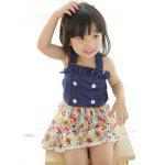 Cute Ruffled Buttoned Floral Girl's One Piece Swimwear - DEEP BLUE