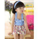 Cute Ruffled Buttoned Floral Girl's One Piece Swimwear - BLEU CLAIR