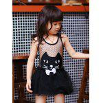 Cute Cat Pattern See Through Girl's One Piece Swimwear - BLACK