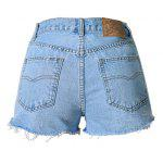 Vintage Style High Waist Raw Edged Floral Embellished Denim Shorts For Women deal