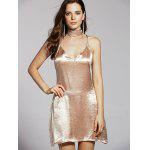 Stylish Cami Pure Color Satin Women's Dress - GOLDEN