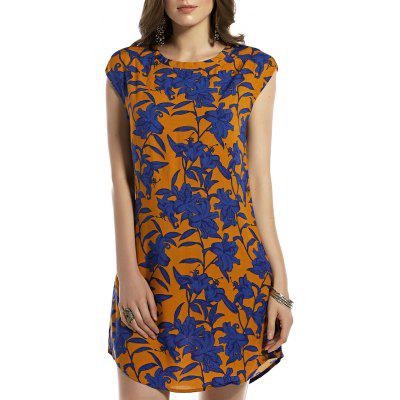 Stylish Round Neck Retro Floral Print Sleeveless Dress For Women
