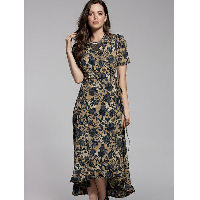 Stylish V Neck Short Sleeve Flounce Ruffles Printed Women's Dress