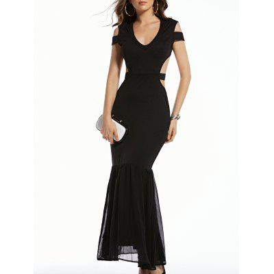 Stylish Plunging Neck Short Sleeve Black Cut Out Women's Dress