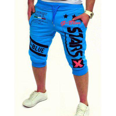 Graphic and Star Printed Lace-Up Jogger Shorts