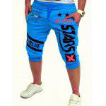 Graphic and Star Printed Lace-Up Jogger Shorts - LAKE BLUE