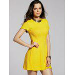 Stylish Round Neck Short Sleeve Cut Out Solid Color Women's Dress - YELLOW