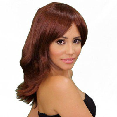 Layered Long Chestnut Straight Tilt Women's Synthetic Wig With Face Side Bang