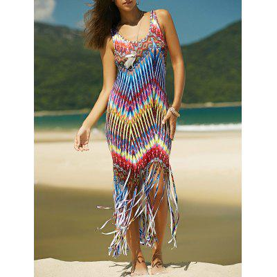 Buy COLORMIX Colorful Boho Zigzag Fringe Racerback Flapper Dress for $13.95 in GearBest store