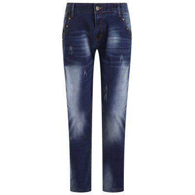 Fashion Ripped Zip Fly Straight Legs Men's Cropped Jeans