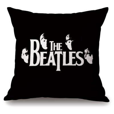 Retro Style The Beatles Portrait Letter Pattern Pillowcase