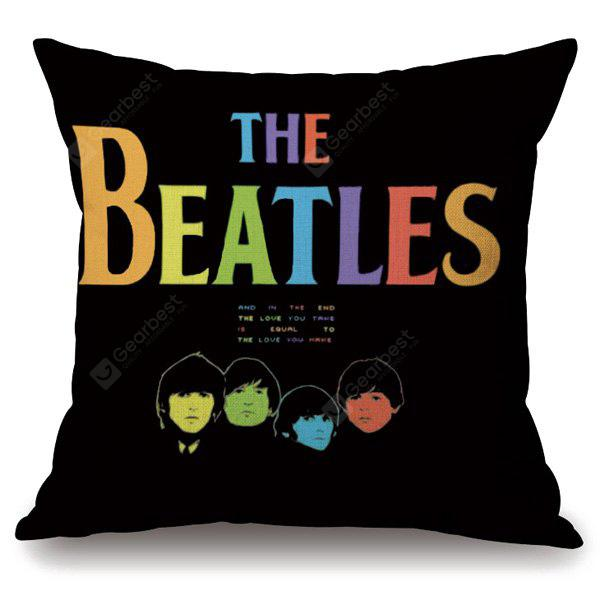 Fashion The Beatles Portrait Letter Design Square Shape Pillowcase