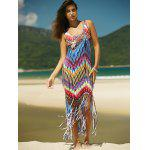 cheap Colorful Zigzag Fringe Racerback Flapper Dress