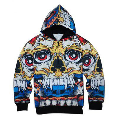 3D Cartoon Skull Print Zip Up Hoodies