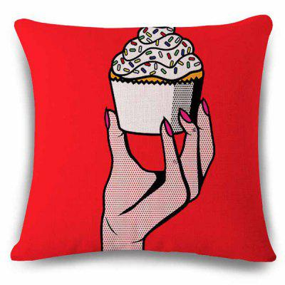 Stylish Hand With Ice Cream Cake Pattern Square Shape Pillowcase