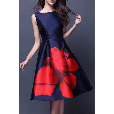 Boat Neck Rose Print Flared Dress
