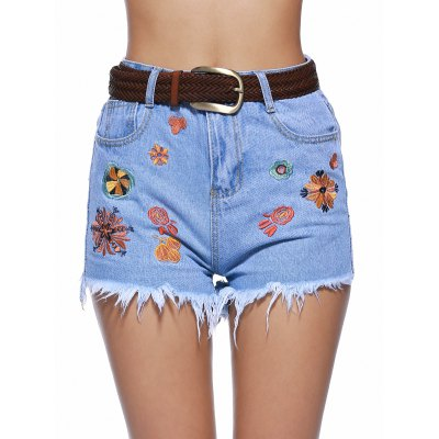 Embroidery Raw Hem Denim Shorts