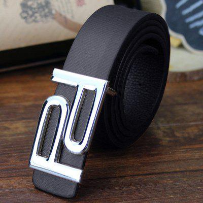 Stylish Hollow Out Double Letter P Shape Embellished PU Belt For Men