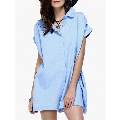 Stylish Button Loose-Fitting Chambray Shirt Dress For Women