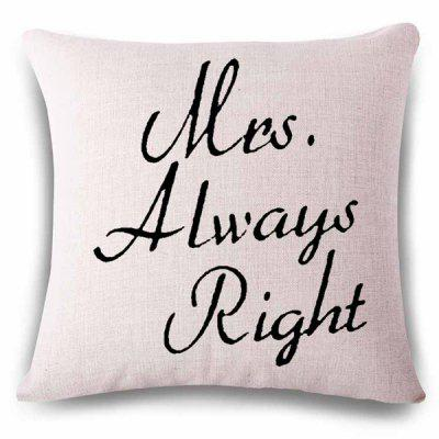 Simple Style Letters Pattern Linen Square Shape Pillowcase