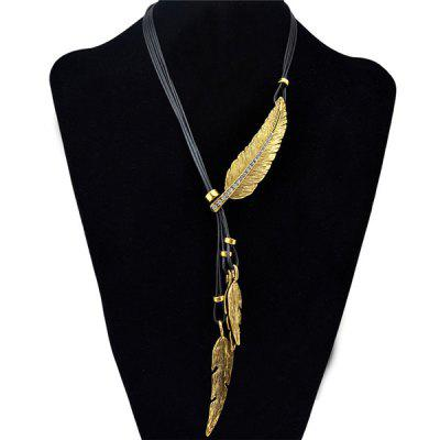 Buy GOLDEN Vintage Faux Leather Rhinestone Leaf Sweater Chain For Women for $2.74 in GearBest store
