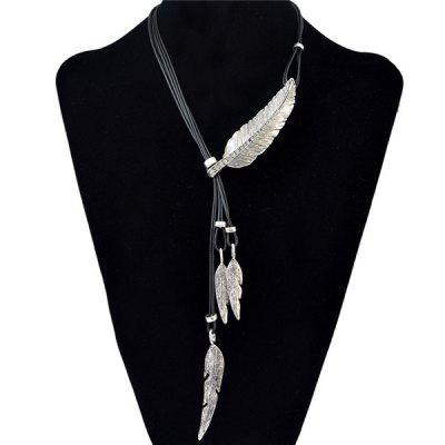 Buy SILVER Vintage Faux Leather Rhinestone Leaf Sweater Chain Jewelry For Women for $2.70 in GearBest store