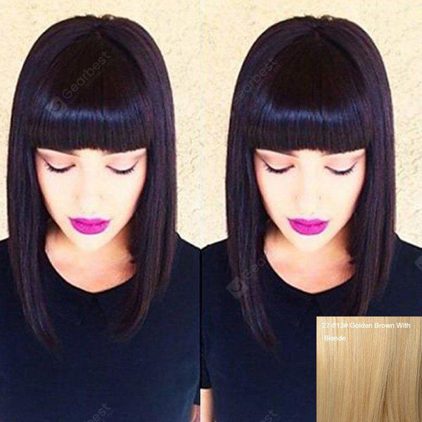 Fashion Human Hair Neat Bang Straight Wig For Women