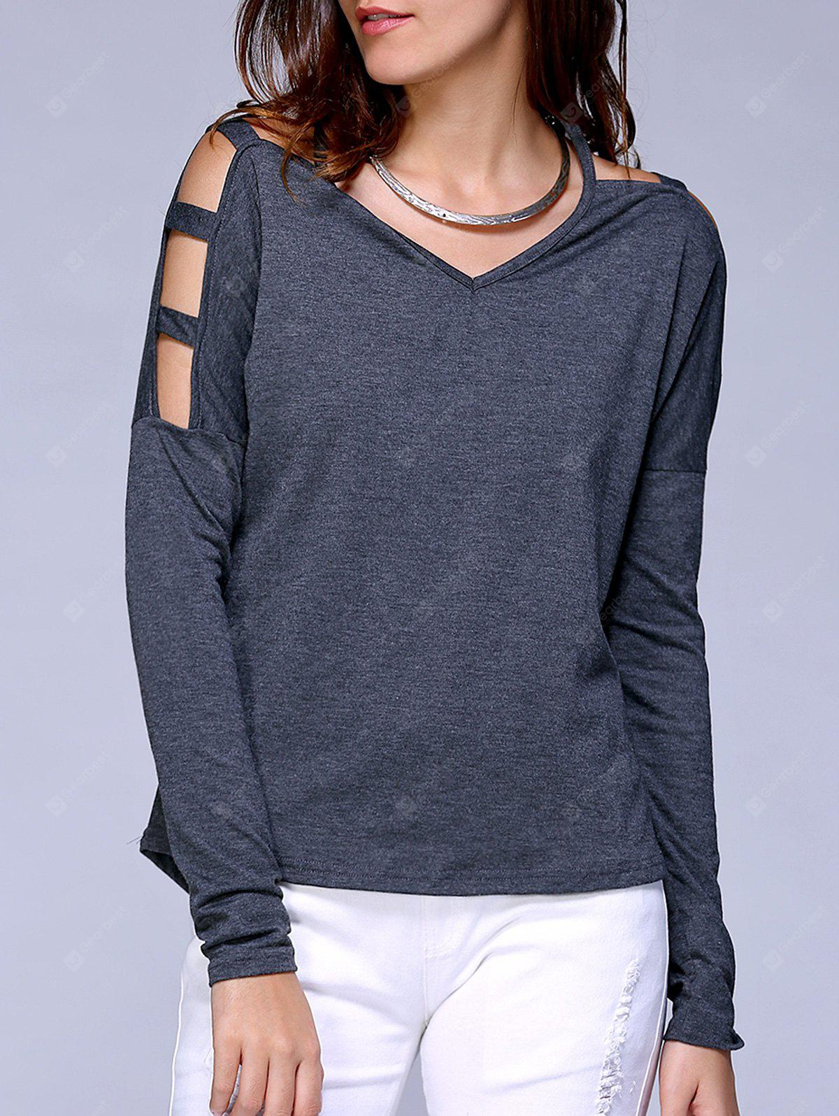 V Neck Cut Off Shoulder Pure Color Tee