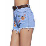 cheap Chic Women's Embroidery Raw Hem Denim Shorts
