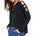 V Neck Cut Off Shoulder Pure Color Tee - BLACK
