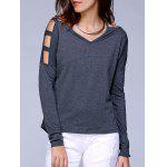 V Neck Cut Off Shoulder Pure Color Tee - GRIGIO