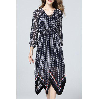 Asymmetric Hem Polka Dot Dress
