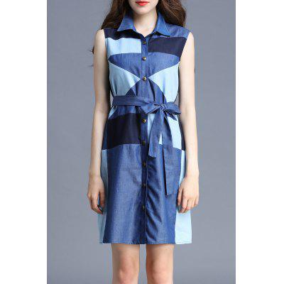Polo Collar Color Block Sleeveless Dress