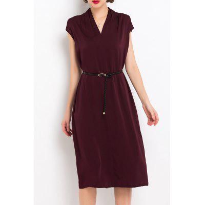V Neck Back Slit Belted Dress
