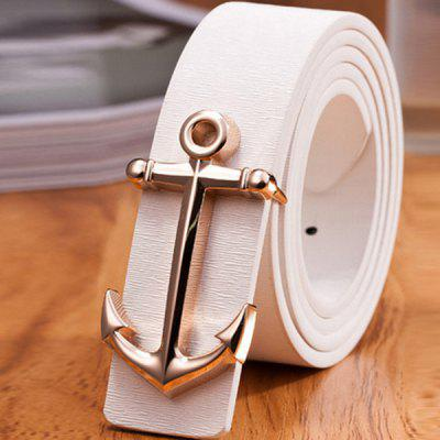 Stylish Golden Boat Anchor Shape Embellished PU White Belt For Men