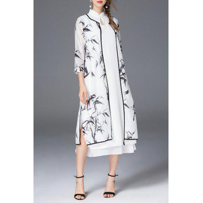 Bamboo Cardigan With Cheongsam Dress