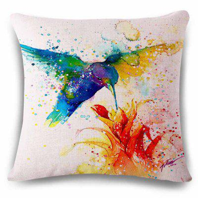 Stylish Hummingbird Flower Watercolor Painting Design Pillowcase