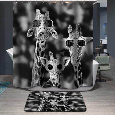Hot Sale Giraffe Printing Waterproof Shower Curtain