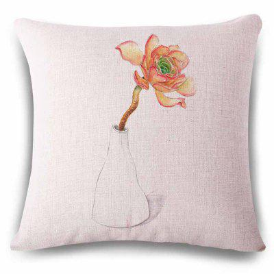 Stylish Vase Flower Freehand Sketching Pattern Linen Pillowcase