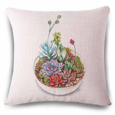 Stylish Multiple Succulent Plants Pot Sketching Pattern Linen Pillowcase