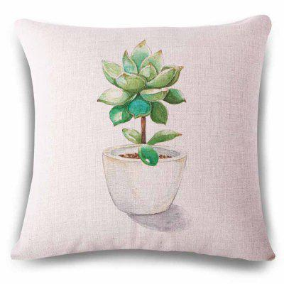 Fresh Style Succulent Plant Pot Sketching Pattern Pillowcase