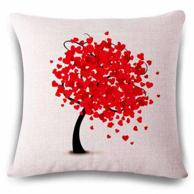 Stylish Heart Shape Decoration Tree Color Drawing Design Pillowcase