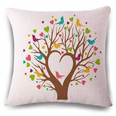 Stylish Heart Shape Tree Birds Color Drawing Design Linen Pillowcase