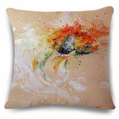 Stylish Goldfish Bubble Watercolor Painting Design Square Shape Pillowcase
