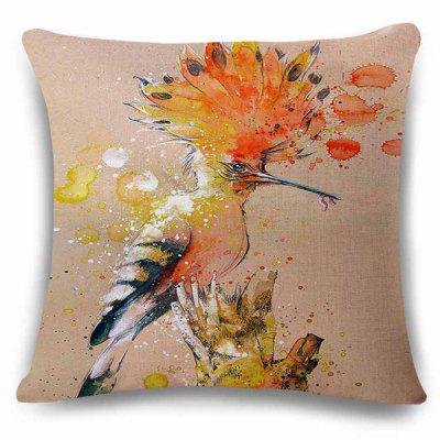 Stylish Branch Resting Bird Bug Watercolor Painting Design Pillowcase