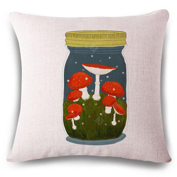 Stylish Mushroom Glassland Bottle Design Square Shape Pillowcase