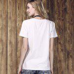 Women's Fashionable Monster Eyes Print Round Neck T-Shirt - WHITE