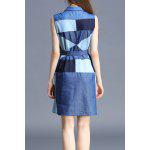 cheap Polo Collar Color Block Sleeveless Dress