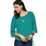 cheap Elegant Scoop Neck Pure Color 3/4 Sleeve Tee For Women