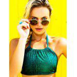 cheap Alluring Halter Neck Self Tie Women's Green Bikini Set